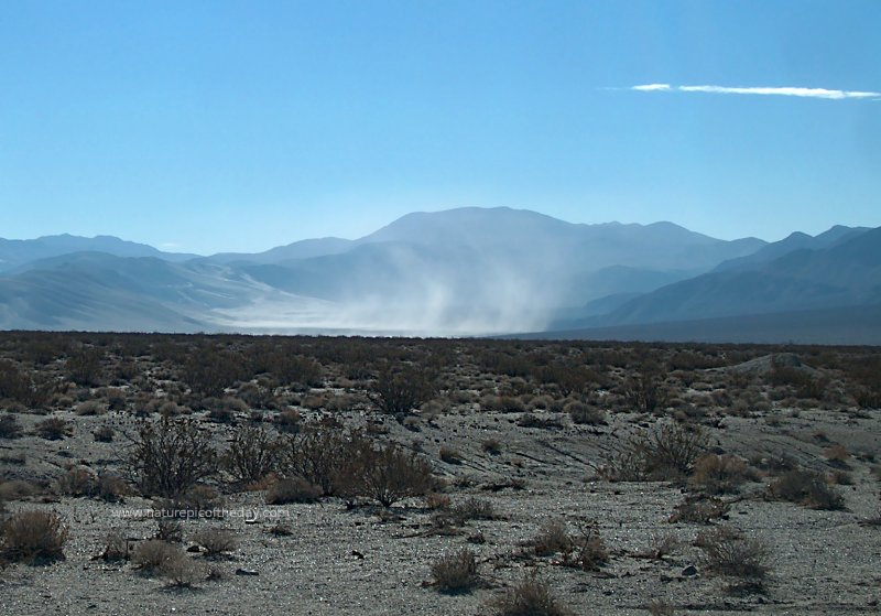 A dust storm blowing through Death Valley National Park.