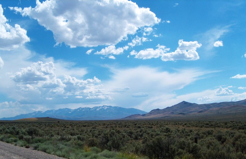 Blue sky and clouds in northern Nevada or southern Oregon.