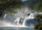 Waterfalls in Croatia.  Nature picture.  Rainjackets, rain gear.