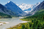 Lake Akkem under Belucha mountain in Altai Republic, Russia. Nature picture.