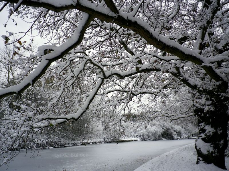 Snow covered Hertfordshire, England