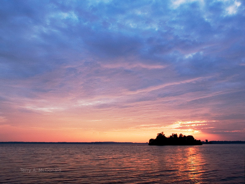 Sunset on Lower Rideau Lake, Ontario, Canada.  Nature picture.  Sunset picture.