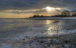 Aldingham Beach in Winter, Cumbria, England, United Kingdom.  Frost covered.