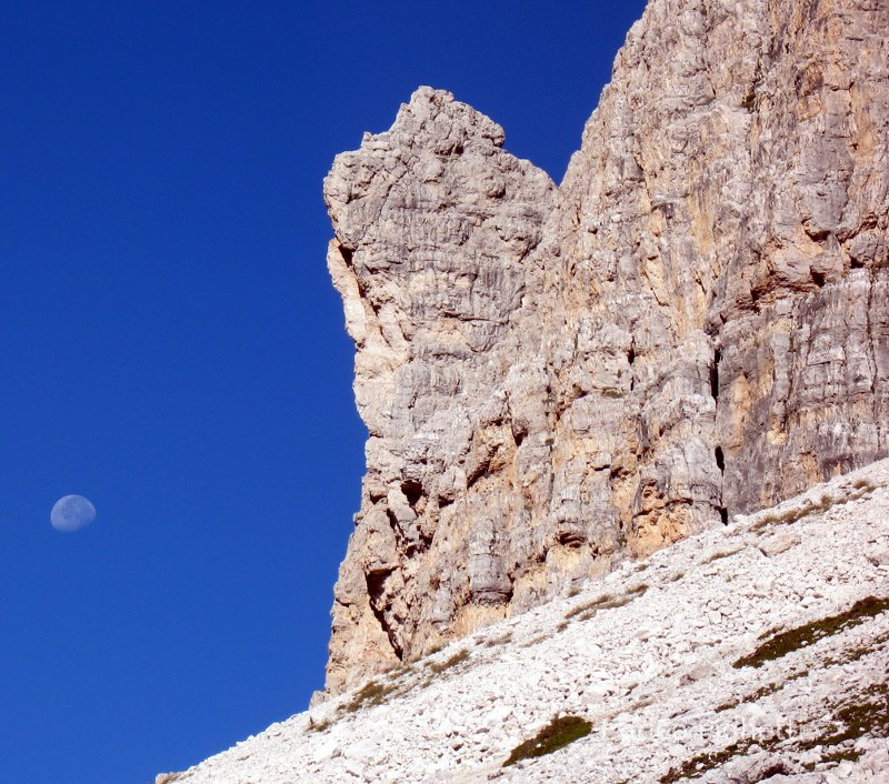 Moon over Lavaredo in Italy