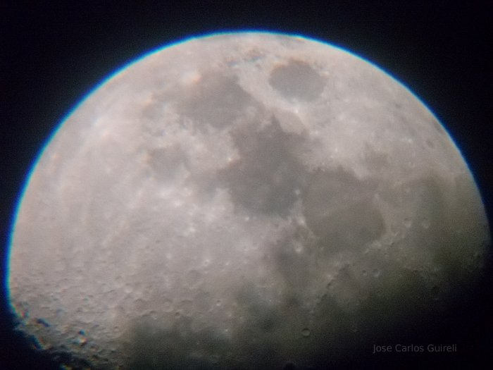 Moon through a Blue Sky BT600 telescope.