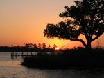 Sunset and fishing at Back Bay, Biloxi, Mississippi