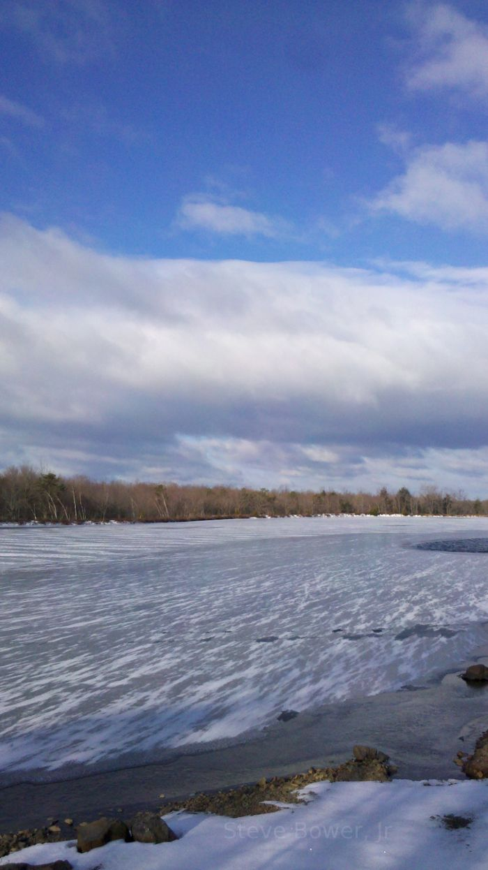 Ice covered lake in Monroe County, PA