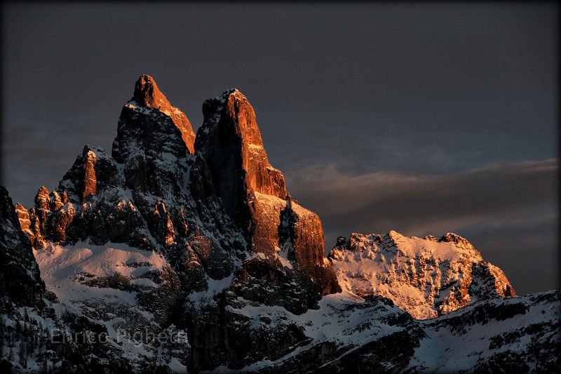 Rocky peaks in an Italian sunset