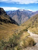 Hiking to Machu Picchu with the Andes in the background