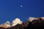 Clouds, Moon, and Rugged Mountains in India