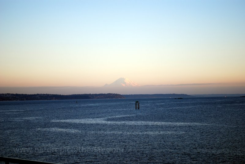 mount Rainier visible while crossing Puget Sound