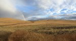 Rain Shower and rainbow over Idaho farm fields