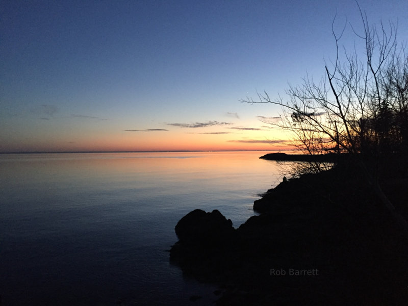 Beautiful still waters of Lake Superior at Sunset
