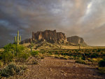 Storm over Superstition Mountain. Dust cleanup, dirt remover, cleaning products.